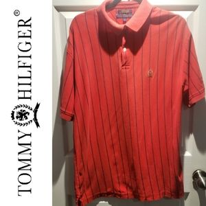 Vintage Tommy Hilfiger Red Striped Polo Shirt